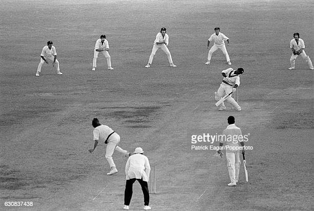 Australian bowler Jeff Thomson unsettles West Indies batsman Gordon Greenidge during the 2nd Test match between West Indies and Australia at the...