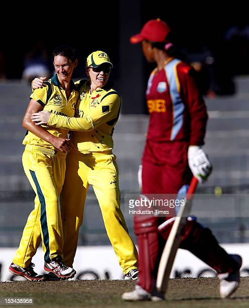 Australian bowler Julie Hunter is congratulated by Alex Blackwell after the dismissal of West Indian Merissa Aguilleira during the ICC World T20...