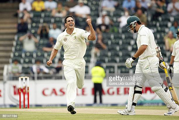 Australian bowler Mitchell Johnson celebrates after sending out South African batsman and Captain Graeme Smith on February 27 2009 during the second...