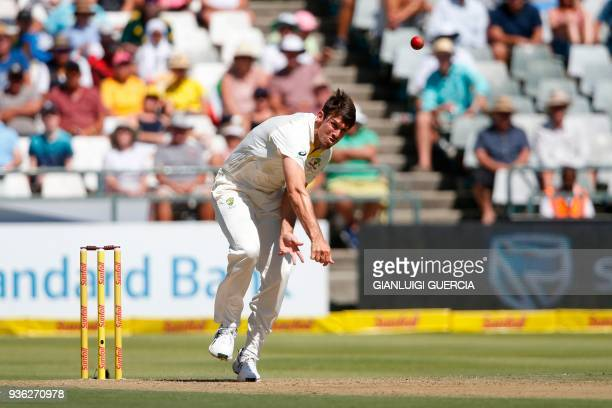 Australian bowler Mitchell Marsh bowls on South African batsman Dean Elgar during the first day of the third Test cricket match between South Africa...