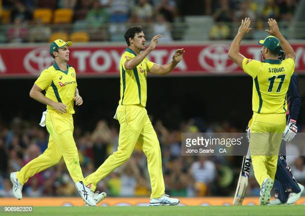 Australian bowler Mitchell Starc celebrates taking a wicket during game two of the One Day International series between Australia and England at The...
