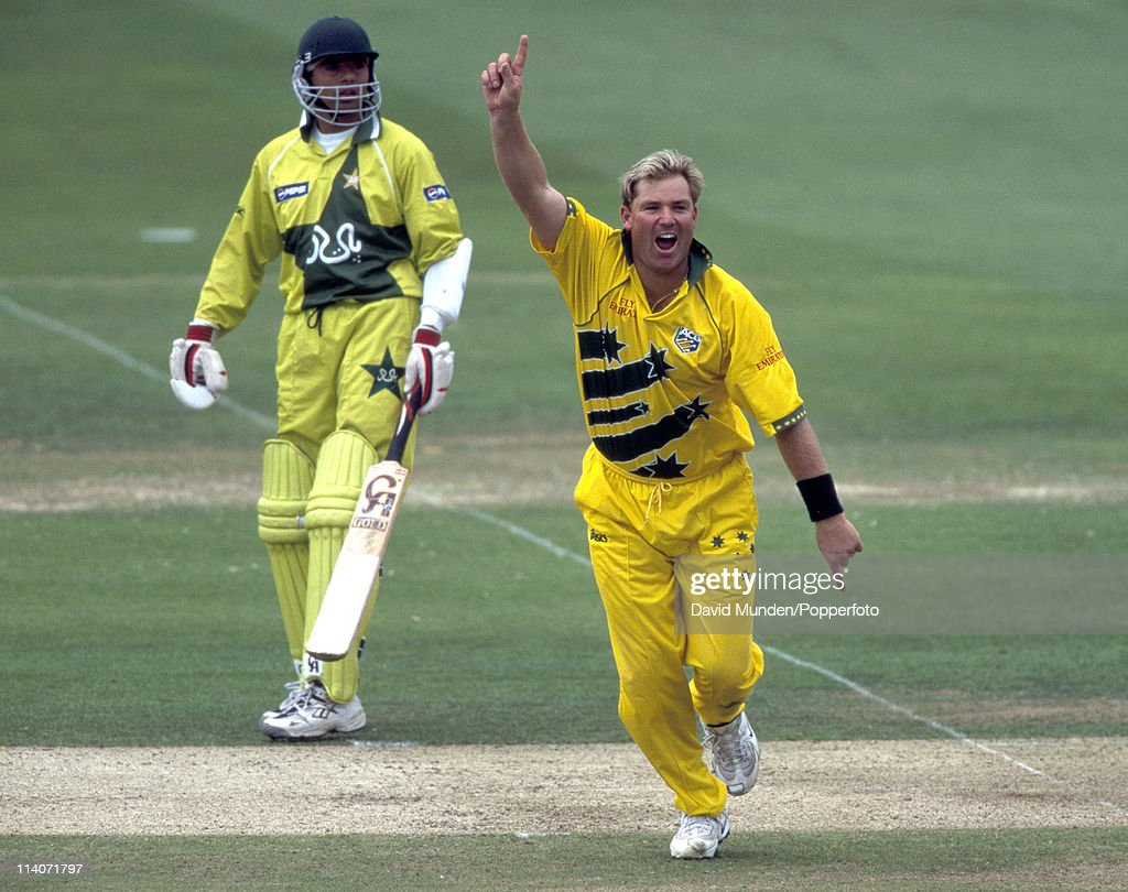 Australian bowler Shane Warne celebrates after one of his 4 wickets in the World Cup Final between Australia and Pakistan at Lord's Cricket Ground in London, 20th June 1999. Warne had figures of 9-1-33-4 and Australia won by 8 wickets.