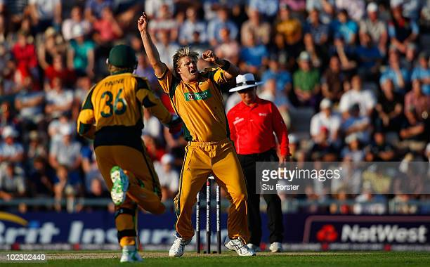 Australian bowler Shane Watson celebrates after taking the wicket of Kevin Pietersen during the 1st Natwest One Day International between England and...