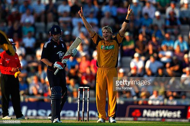 Australian bowler Shane Watson celebrates after taking the wicket of Paul Collingwood during the 1st Natwest One Day International between England...