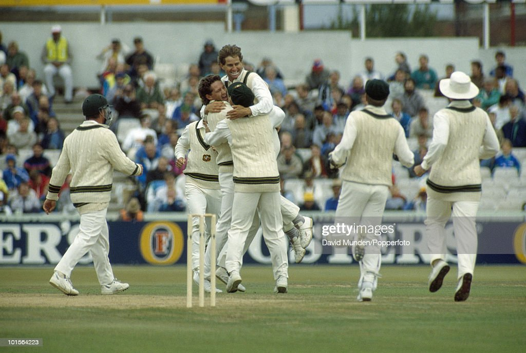 Australian bowler Terry Alderman has just trapped Ian Botham LBW for 4 leaving England on 38 for 5 during the second innings on the fourth day of the 4th Test match between England and Australia at Old Trafford in Manchester, 31st July 1989. Australia won by 9 wickets.