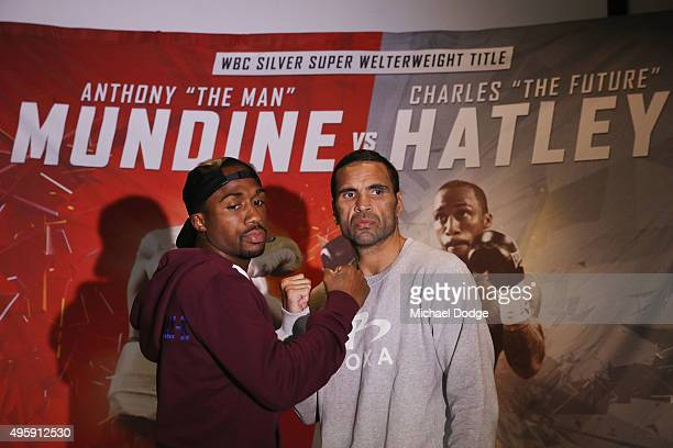 Australian boxer Anthony Mundine and Charles Hatley of the USA pose during a press conference at Gasolina Motorcycle Garage and Restaurant on...