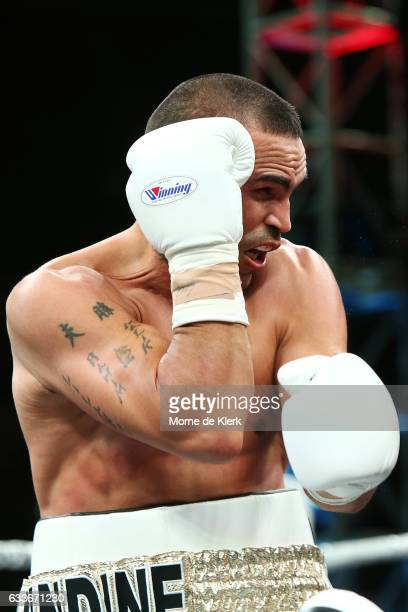 Australian boxer Anthony Mundine fights during his cruiserweight bout with Danny Green at Adelaide Oval on February 3 2017 in Adelaide Australia
