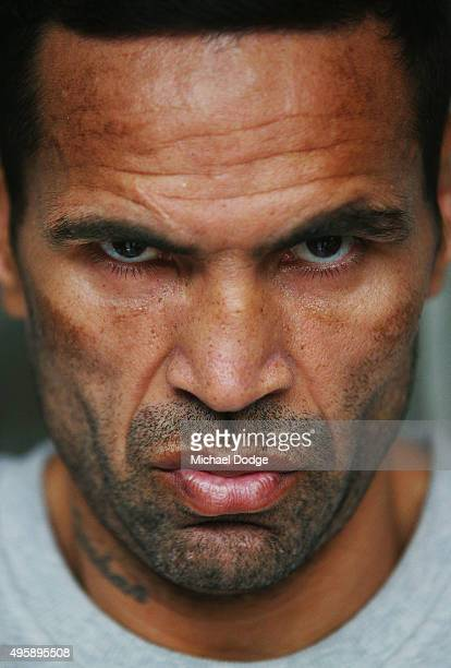 Australian boxer Anthony Mundine poses during a press conference at Gasolina Motorcycle Garage and Restaurant on November 6 2015 in Melbourne...