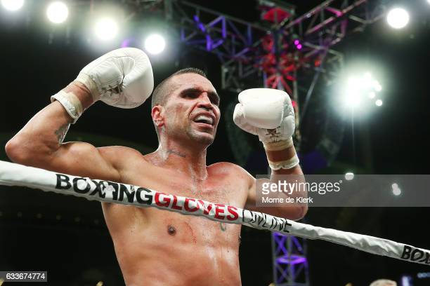 Australian boxer Anthony Mundine reacts after his cruiserweight bout with Danny Green at Adelaide Oval on February 3 2017 in Adelaide Australia