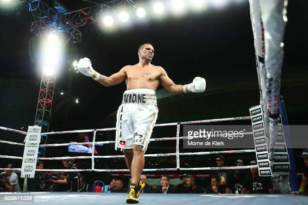 Australian boxer Anthony Mundine reacts during his cruiserweight bout with Danny Green at Adelaide Oval on February 3 2017 in Adelaide Australia