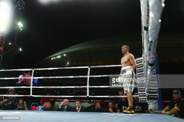 Australian boxer Anthony Mundine stands in his corner during his cruiserweight bout with Danny Green at Adelaide Oval on February 3 2017 in Adelaide...