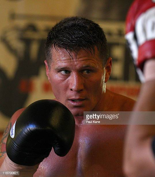 Australian boxer Danny Green takes part in a sparring session at The Ring gym on June 9 2011 in Perth Australia Green is preparing for his next fight...