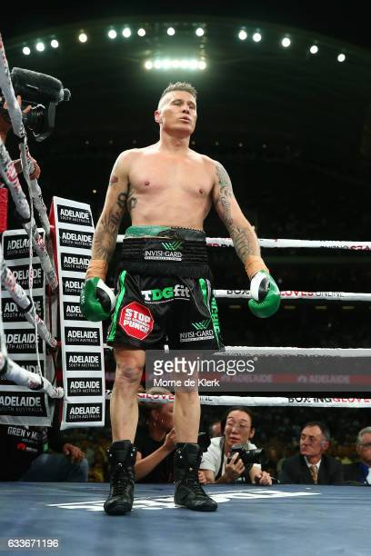 Australian boxer Danny Green waits in his corner during his cruiserweight bout with Anthony Mundine at Adelaide Oval on February 3 2017 in Adelaide...