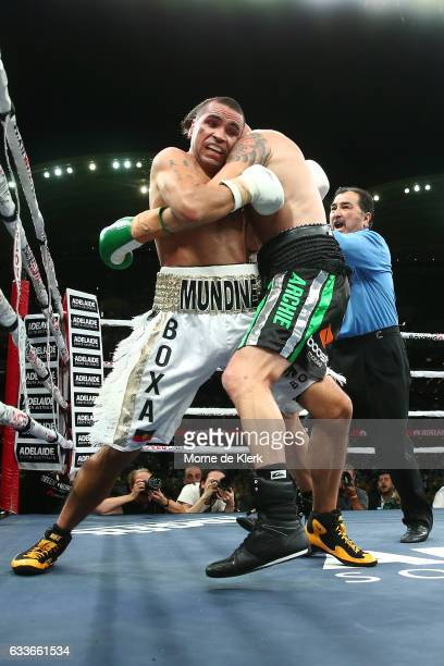 Australian boxers Anthony Mundine and Danny Green fight during their cruiserweight bout at Adelaide Oval on February 3 2017 in Adelaide Australia