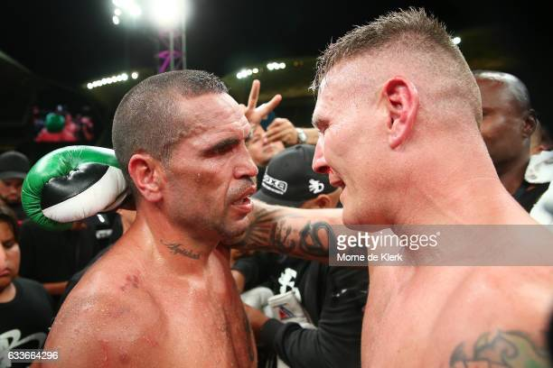 Australian boxers Anthony Mundine and Danny Green speak after their cruiserweight bout at Adelaide Oval on February 3 2017 in Adelaide Australia
