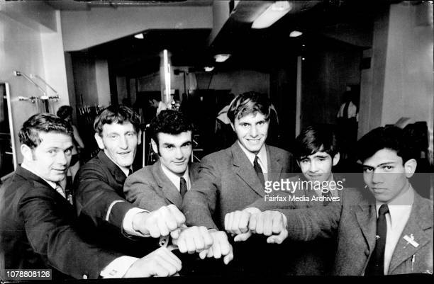 Australian Boxers for Vietnam Fred Holt Wayne Devlin Rodger Bawyer Bob Murphy Peter Butterfield and Brian Everard pose at the city Tatts Gym tonight...