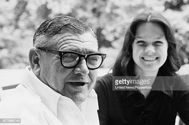 Australian businessman and mining magnate Lang Hancock pictured sitting with his daughter Gina Rinehart in London on 30th June 1977