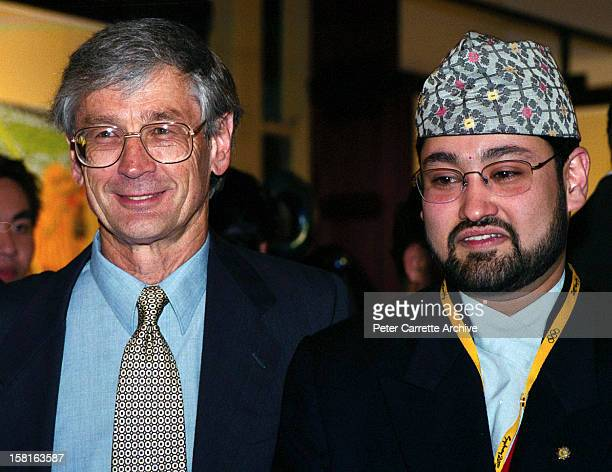 Australian businessman Dick Smith and Crown Prince Dipendra of Nepal attend a Fred Hollows Foundation function on September 29 2000 in Sydney...