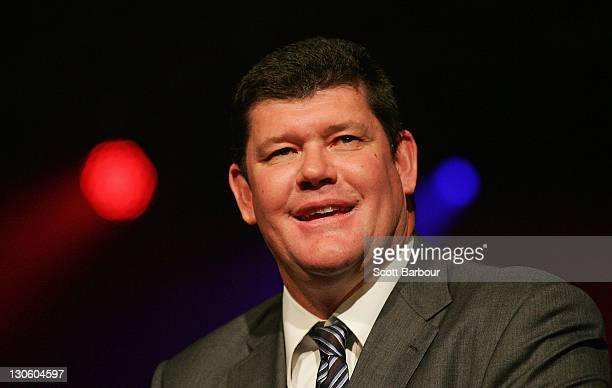 Australian businessman James Packer speaks during the launch of the upgraded and expanded Mahogany Room at the Crown on October 27 2011 in Melbourne...