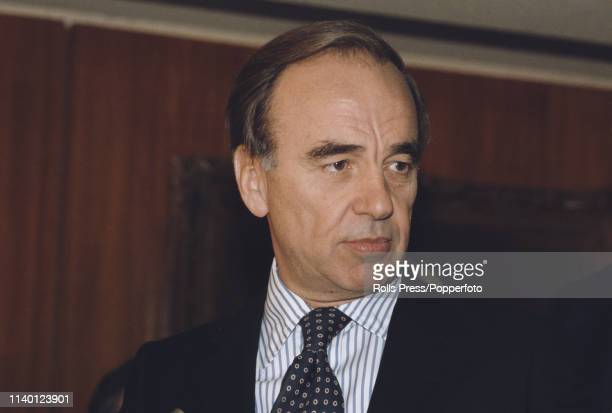 Australian businessman Rupert Murdoch, owner of News International, pictured attending a press conference after acquiring ownership of the Times and...