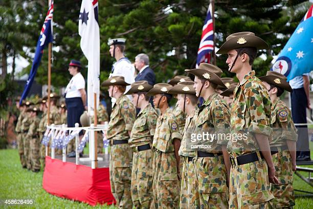 australian cadets - anzac day stock pictures, royalty-free photos & images