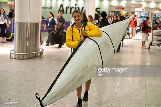 Australian canoeist Jessica Fox arrives at Heathrow Airport in west London on July 17 before the start of the London 2012 Olympic Games Frenchborn...