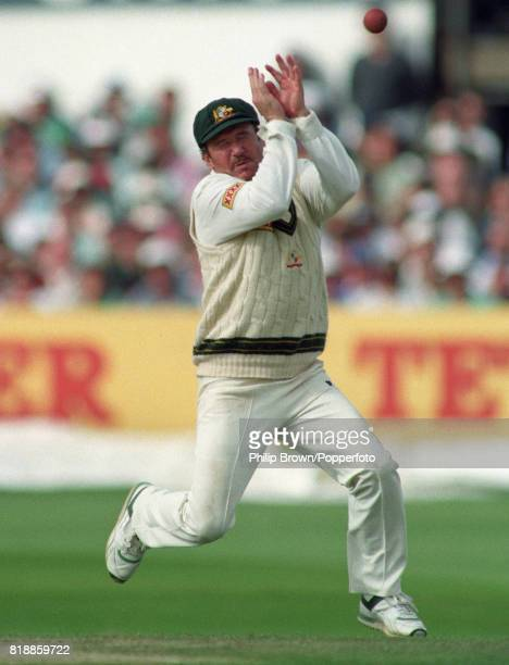 Australian captain Allan Border attempts to catch the ball during the 4th Test match between England and Australia at Headingley Leeds 25th July 1993...
