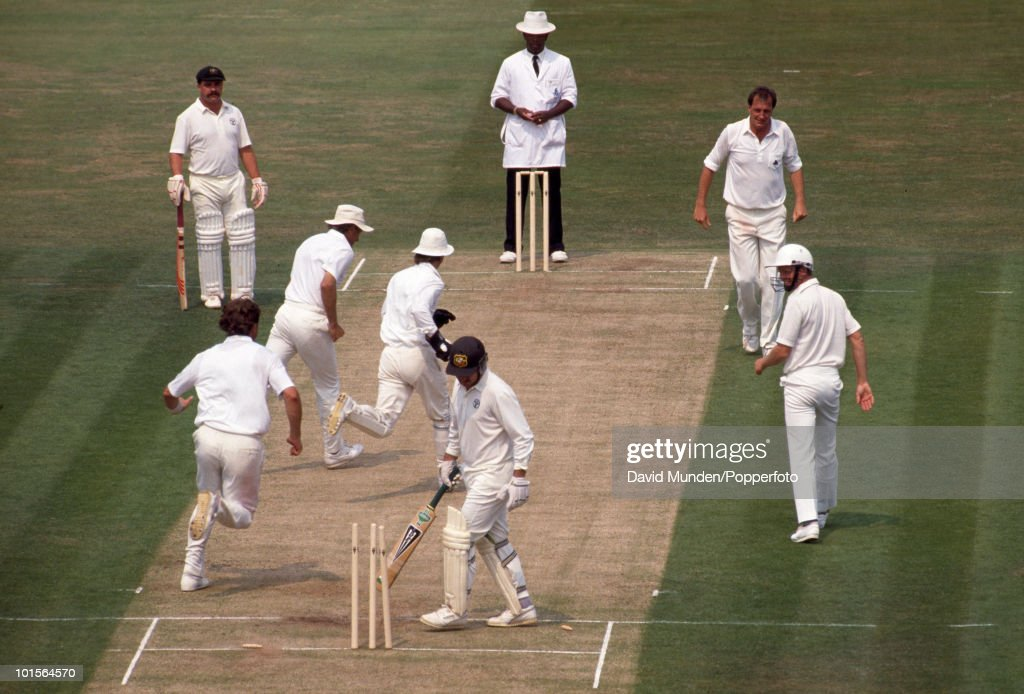 Australian captain Allan Border is out, bowled by England's John Emburey for 8 on the first day of the 3rd Test match between England and Australia at Edgbaston in Birmingham, 6th July 1989. Match Drawn.