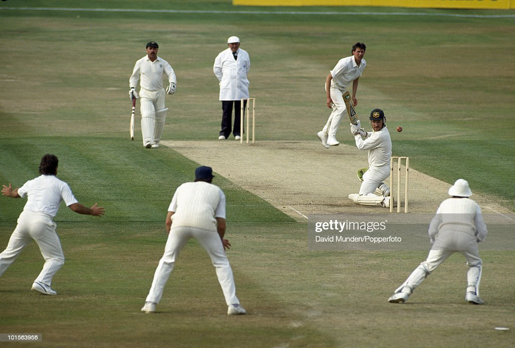 Australian captain Allan Border looks anxious as he is beaten by a ball from Neil Foster of England during the first day of the 1st Test match between England and Australia at Headingley in Leeds, 8th June 1989. The non-striking batsman is David Boon and the umpire is David Shepherd. Australia won by 210 runs.