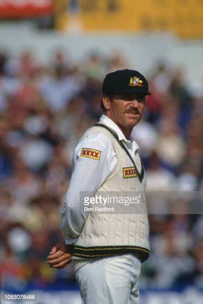 Australian captain Allan Border on the field during the first One Day International at Old Trafford Manchester 19th May 1993