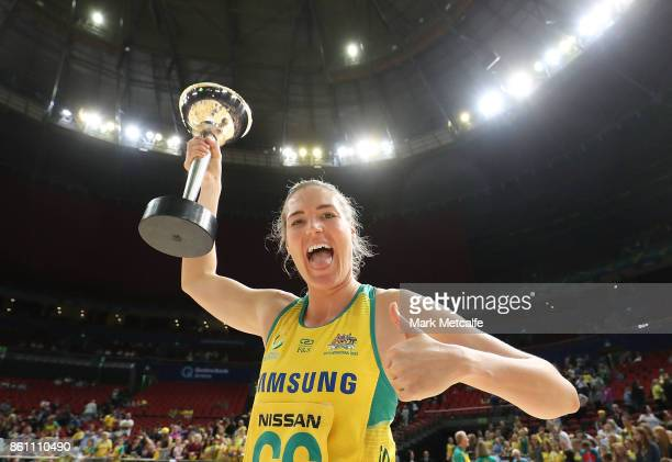 Australian captain Caitlin Bassett holds up the 2017 Constellation Cup trophy during the 2017 Constellation Cup match between the Australian Diamonds...