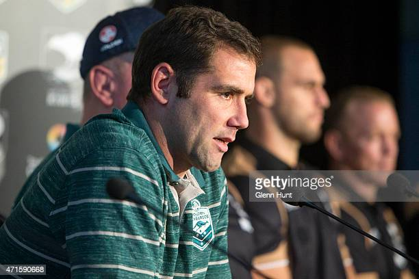 Australian captain Cameron Smith speaks to the media ahead of the international Test match during a press conference at Suncorp Stadium on April 30...