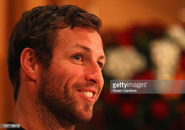 Australian captain Lucas Neill speaks to the media during an Australian Socceroos media conference at the Royal Orchid Sheraton on November 14 2011...