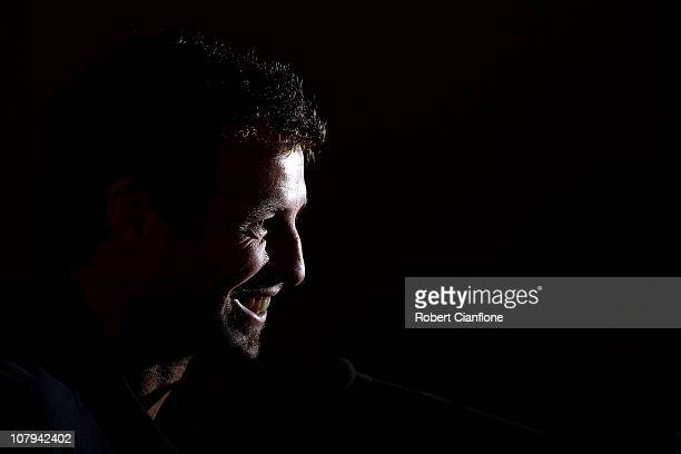 Australian captain Lucas Neill talks to the media during the Australian Socceroos official prematch media conference at the Main Media Centre Ladies...