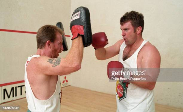 Australian captain Mark Taylor during a boxing training session at Oxford England 26th June 1997