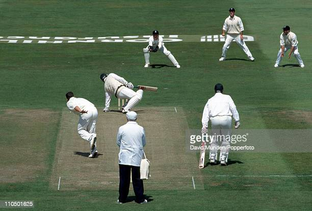 Australian captain Mark Taylor is out for 0 caught by England wicketkeeper Alec Stewart off the bowling of Darren Gough during the 4th Test Match at...