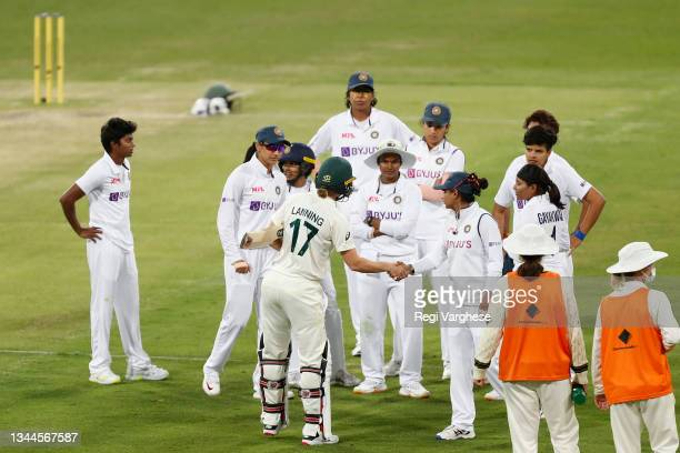 Australian captain Meg Lanning and her Indian counterpart Mithali Raj shake hands after their historic day-night Women's International Test Match...