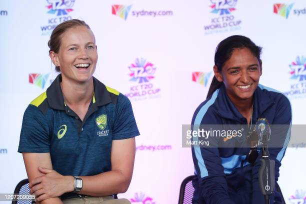 Australian captain Meg Lanning and Indian captain Harmanpreet Kaur speak during an Australia and India ICC Women's T20 World Cup Media Opportunity at...