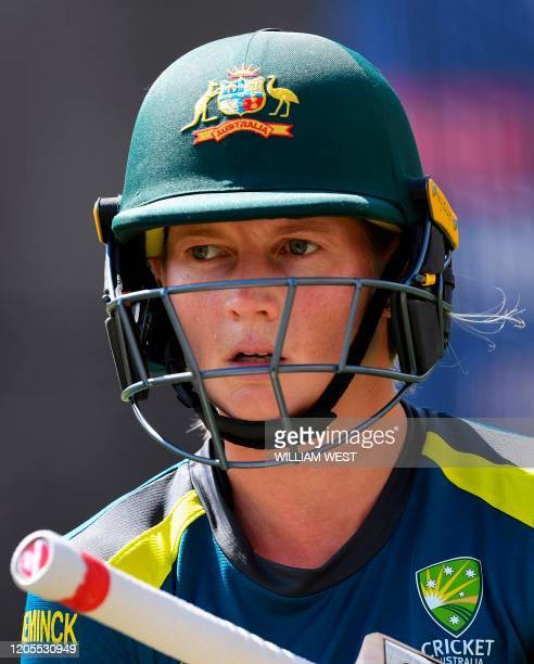 Australian captain Meg Lanning trains in the nets ahead of the Twenty20 women's World Cup cricket final, in Melbourne on March 7, 2020. / --IMAGE...