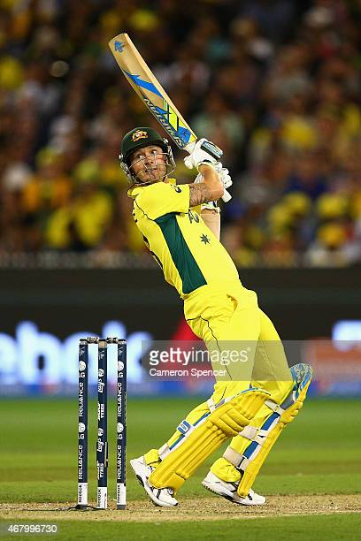 Australian captain Michael Clarke bats during the 2015 ICC Cricket World Cup final match between Australia and New Zealand at Melbourne Cricket...