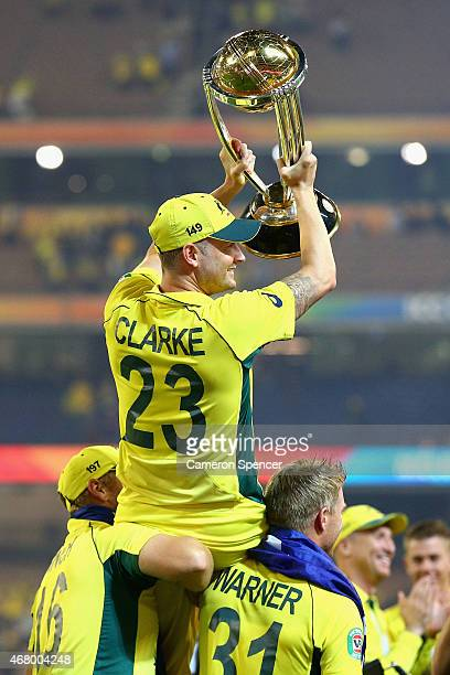 Australian captain Michael Clarke is chaired on the shoulders of team mates after winning the 2015 ICC Cricket World Cup final match between...