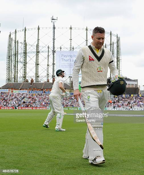 Australian captain Michael Clarke leaves the field after being dismissed by Ben Stokes of England during day one of the 5th Investec Ashes Test match...