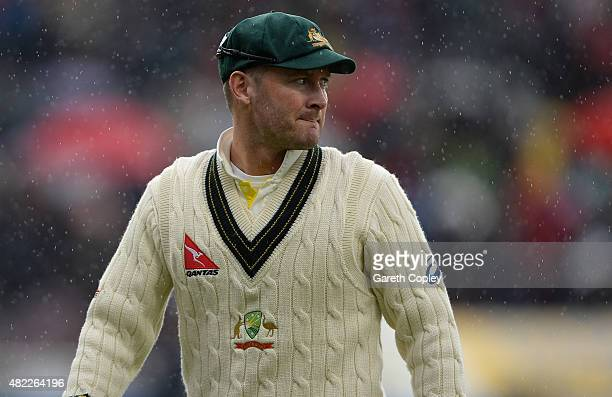 Australian captain Michael Clarke leaves the field as rain stops play during day one of the 3rd Investec Ashes Test match between England and...