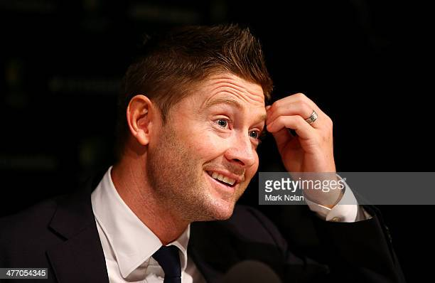Australian captain Michael Clarke speaks to the media during a press conference at Sydney International Airport on March 7 2014 in Sydney Australia...
