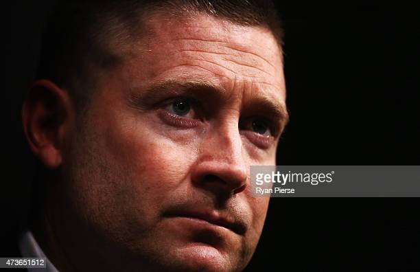 Australian captain Michael Clarke talks to the media at a press conference prior to his departure for the Tour of the West Indies at Sydney...