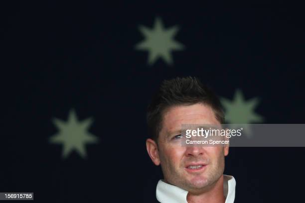 Australian captain Michael Clarke watches his batsmen from the Australian change room during day four of the Second Test Match between Australia and...