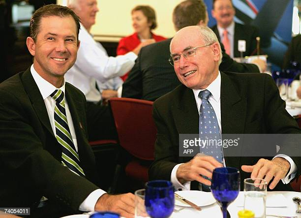 Australian captain Ricky Ponting and Australian Prime Minister John Howard at the Australian World Cup team breakfast at the Sydney Cricket Ground...