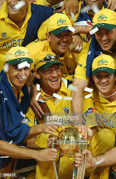 Australian captain Ricky Ponting Andy Bichel with the World cup trophy after the World Cup Final between Australia and India at The Wanderers Ground...