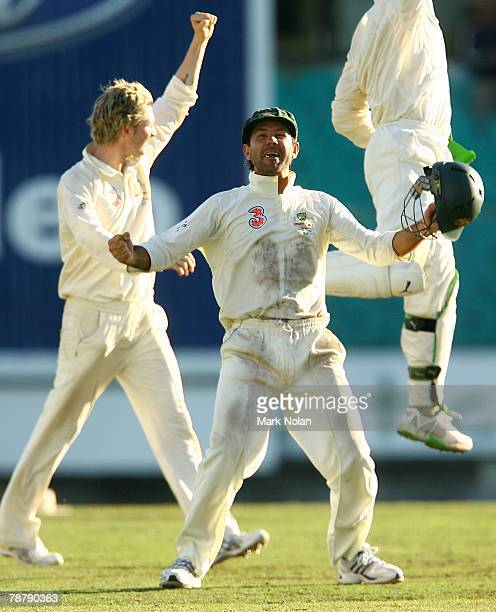 Australian Captain Ricky Ponting celebrates victory at the end of play on day five of the Second Test match between Australia and India at the Sydney...