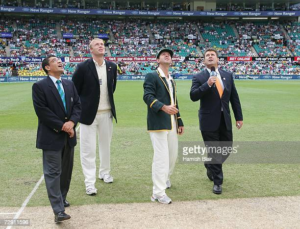 Australian captain Ricky Ponting England captain Andrew Flintoff match referee Ranjan Madugalle and cricket commentator and former Australian captain...